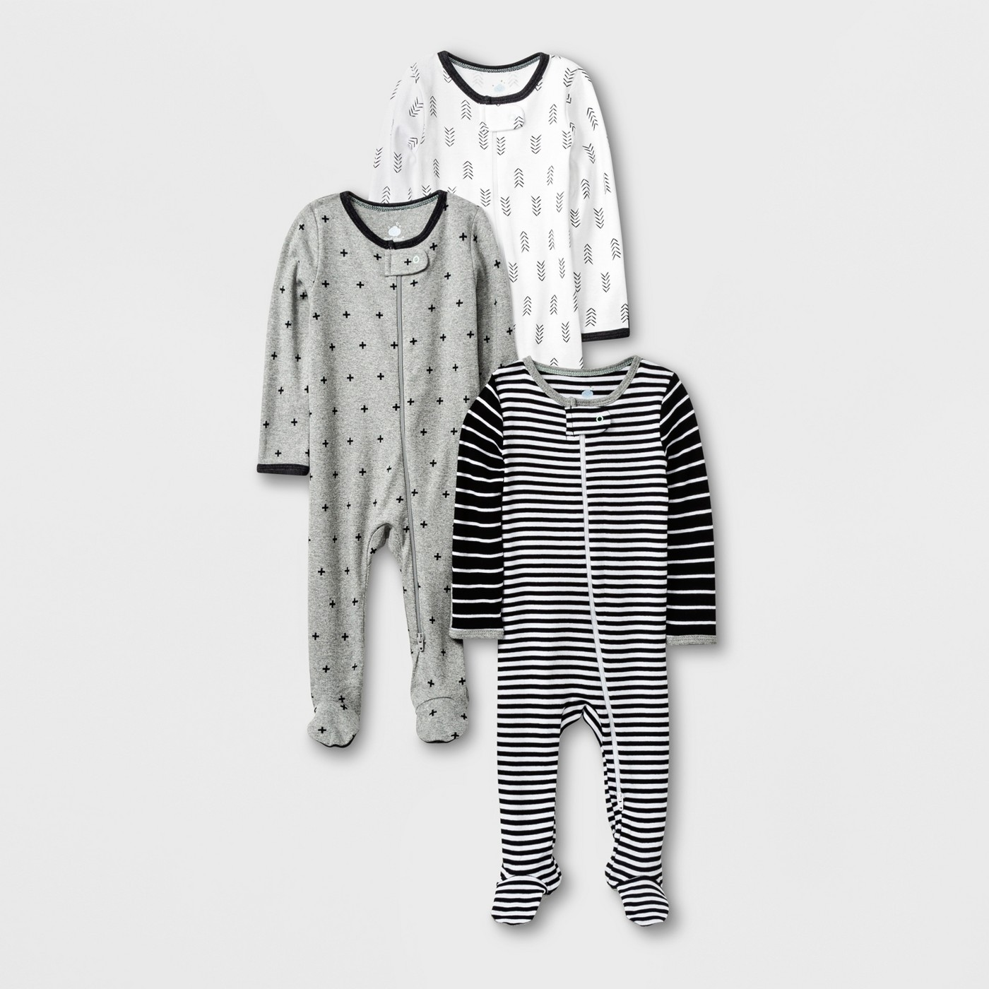 Baby 3pk Long Sleeve Footed Sleeper Set - Cloud Island™ Black/White/Gray - image 1 of 1