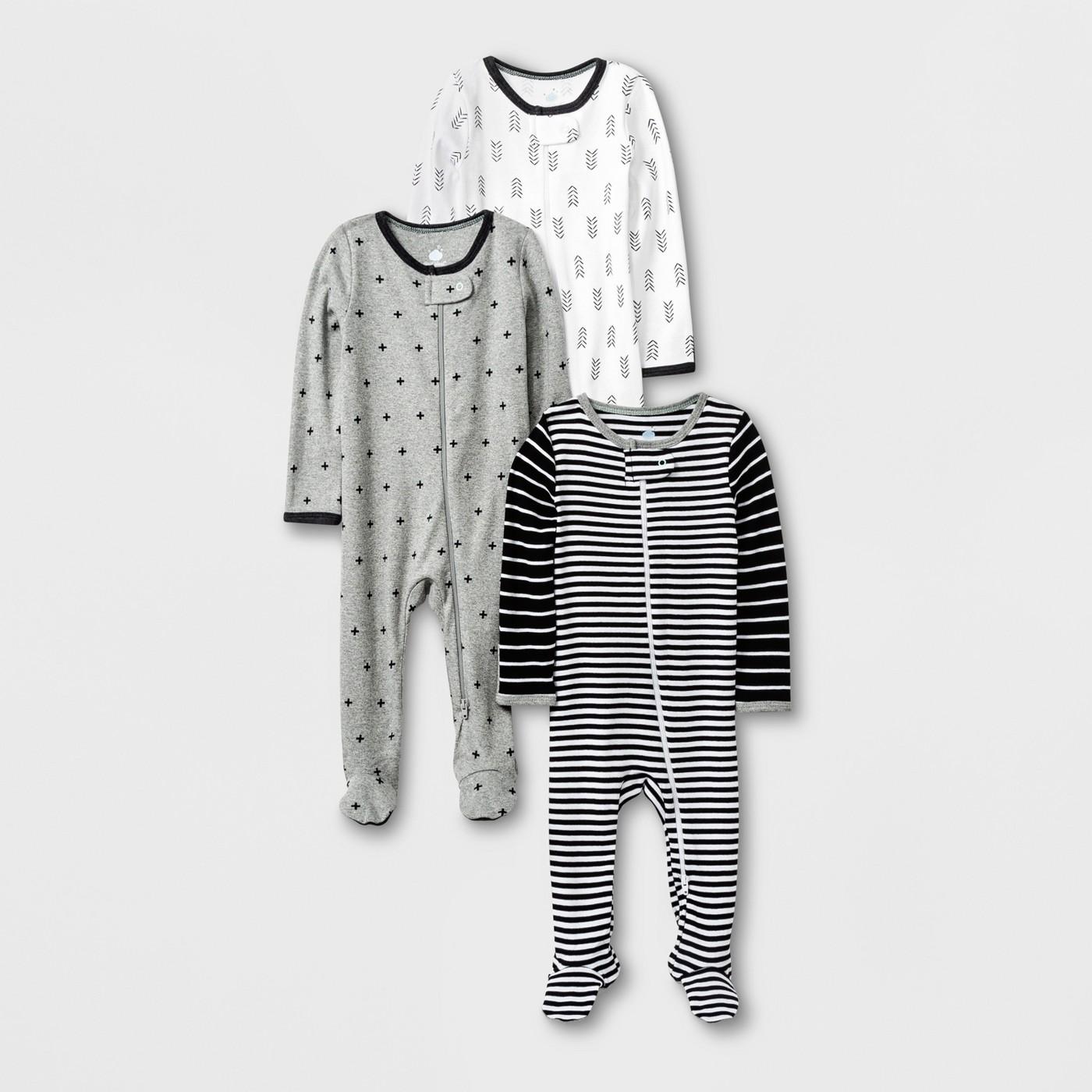 Baby 3pk Long Sleeve Footed Sleeper Set - Cloud Island™ Black/White/Gray - image 1 of 1