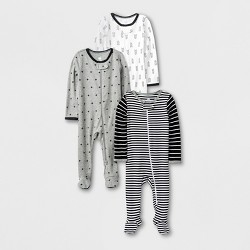 Baby 3pk Long Sleeve Pajama - Cloud Island™ Black/White/Gray