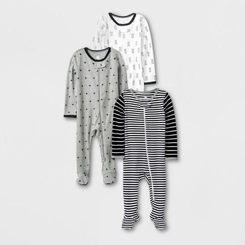 5d9dffc0e Baby 3pk Long Sleeve Pajama Set - Cloud Island™ Black White Gray ...