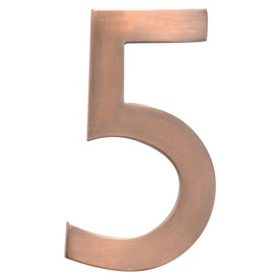 """Architectural Mailboxes 5"""" House Number 5 Antique Copper"""