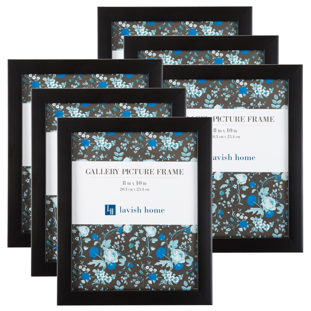 "Image of ""Picture Frame with Stand & Hanging Hooks Black 8""""x10"""" 6pk - Lavish Home"""