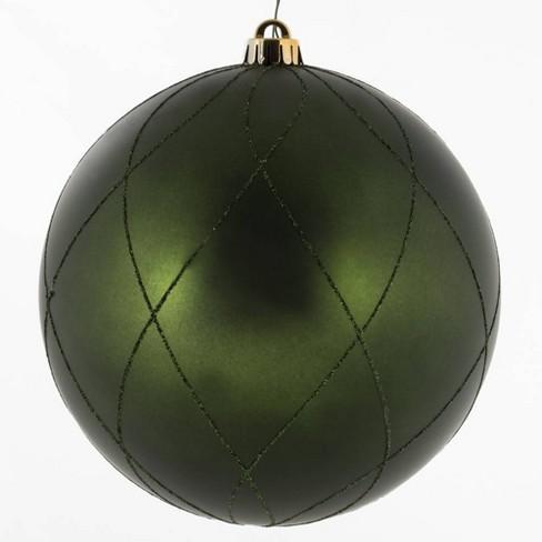 """Vickerman 8"""" Matte Glitter Swirl Ball Ornament Moss Green - image 1 of 3"""