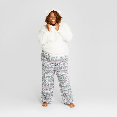 Women's Plus Size Holiday Fuzzy Bear Fair Isle Pajama Set - Wondershop™ White 2X