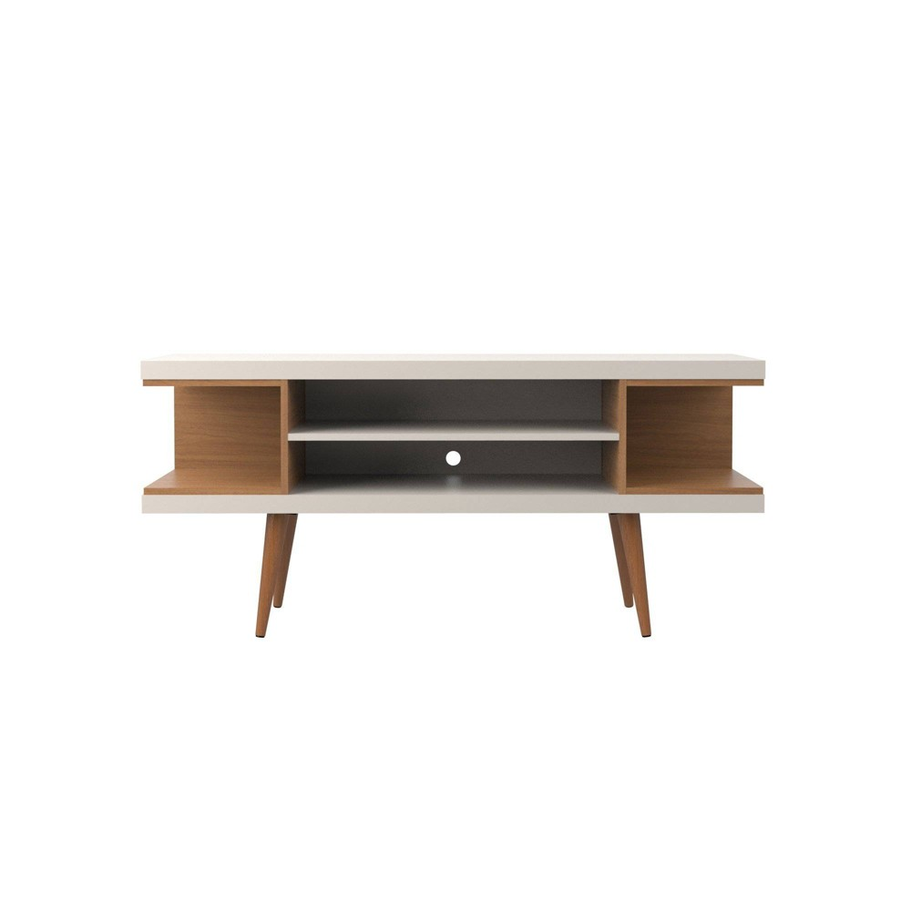 53.14 Utopia TV Stand with Splayed Wooden Legs and 4 Shelves Maple Cream/Off-White (Maple Cream/Beige) - Manhattan Comfort
