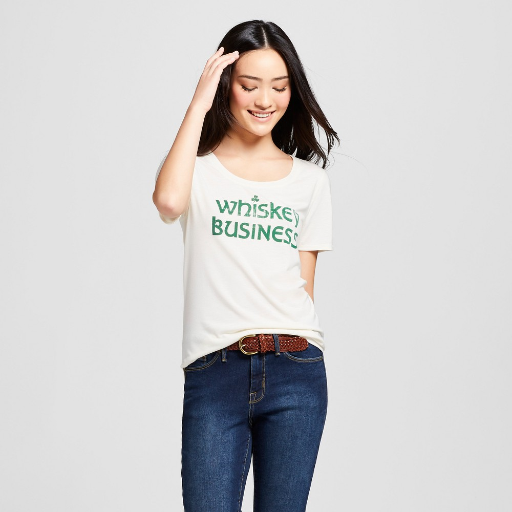 Women's St. Patrick's Day Whiskey Business Scoop Neck Short Sleeve Graphic T-Shirt - Grayson Threads - White Xxl, Beige