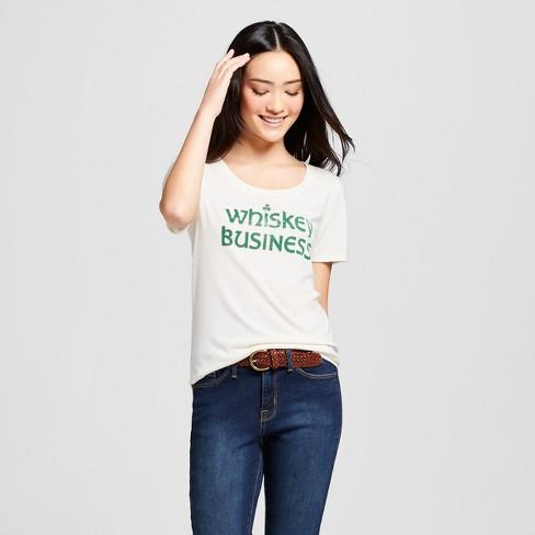 a9b803b4b6d5b Women s St. Patrick s Day Whiskey Business Scoop Neck Short Sleeve Graphic T -Shirt - Grayson Threads - White
