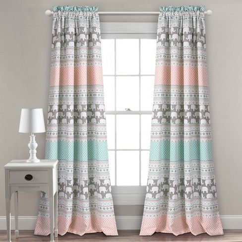 "Elephant Stripe Window Curtain Panels (52""x84"") - 2ct - Lush Decor - image 1 of 3"