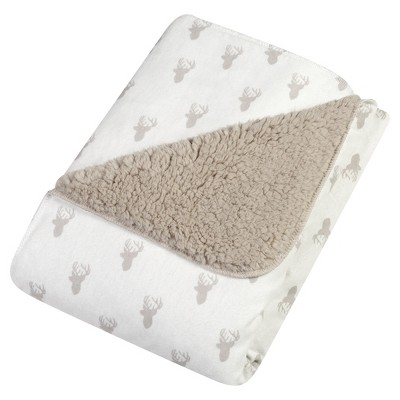 Trend Lab Faux Shearling Blanket - Gray Stag Head