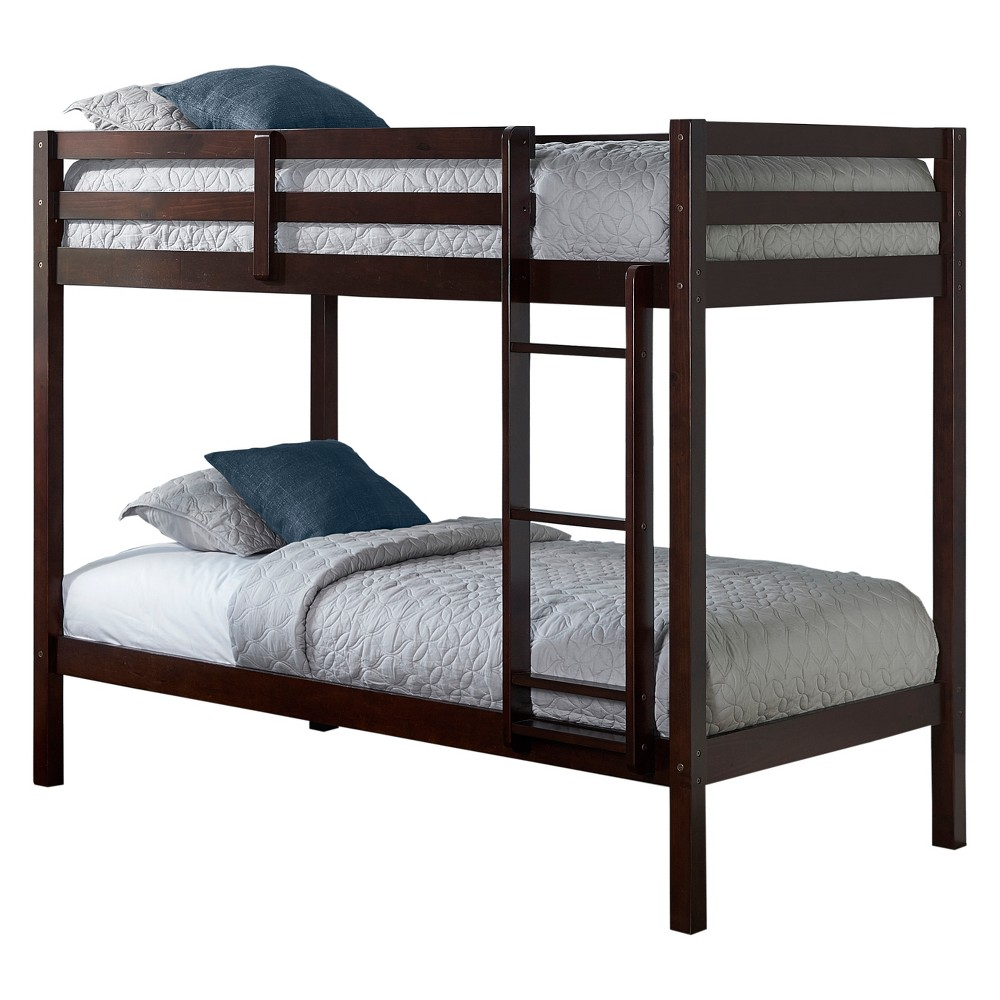 Twin Over Twin Caspian Bunk Bed with Hanging Nightstand Chocolate (Brown) - Hillsdale Furniture