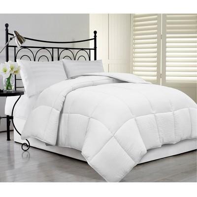 Blue Ridge Home Fashions Synthetic Microfiber Reversible Solid Color Cover Down Alternative All-Season Comforter, White