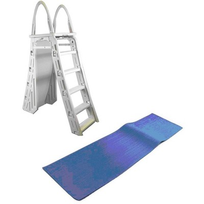 Confer 48-56 Inch Above-Ground Pool Ladder and 9 x 24 Inch Protective Ladder Mat