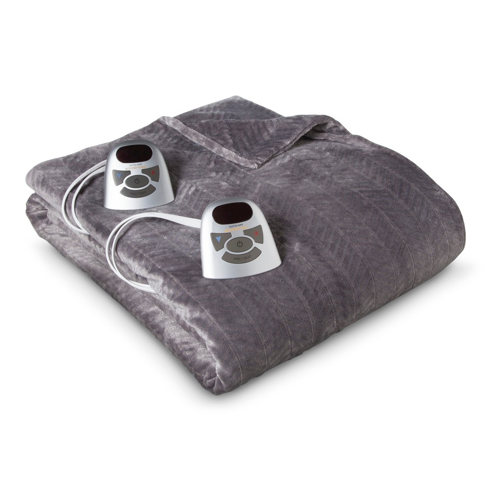 Velour Chevron Electric Blanket Gray (King) - Biddeford