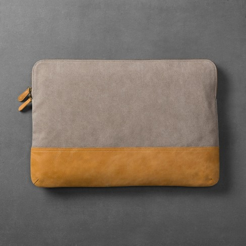 Canvas & Leather Laptop Pouch - Grey/Tan - Hearth & Hand™ with Magnolia - image 1 of 2