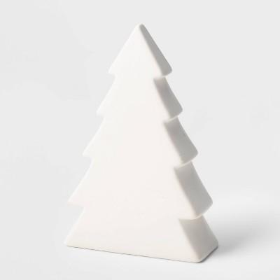 8in Ceramic Christmas Tree Figurine White - Wondershop™