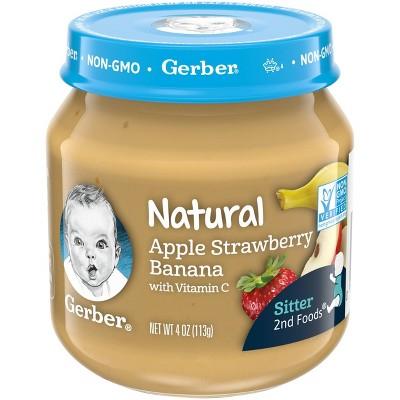 Gerber 2nd Food Natural Apple Strawberry Banana Baby Meals - 4oz