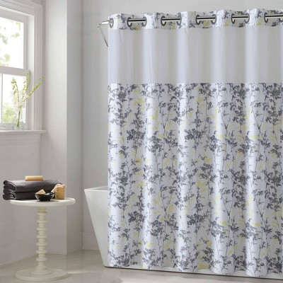 Field Leaves Shower Curtain with Fabric Liner White - Hookless