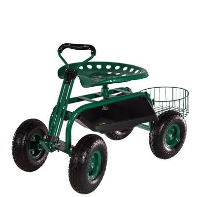 Merveilleux Rolling Garden Cart With Extendable Steering Handle, Swivel Seat And  Planter Basket   Green   Sunnydaze Decor