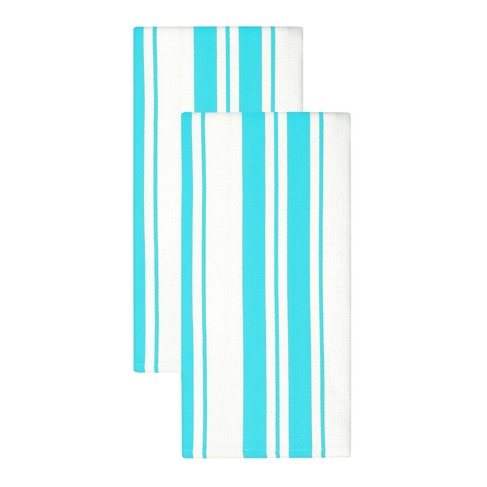 "Image of ""20""""x 30"""" 2pk Cotton Stripe Kitchen Towel Aqua - MUkitchen, Blue"""