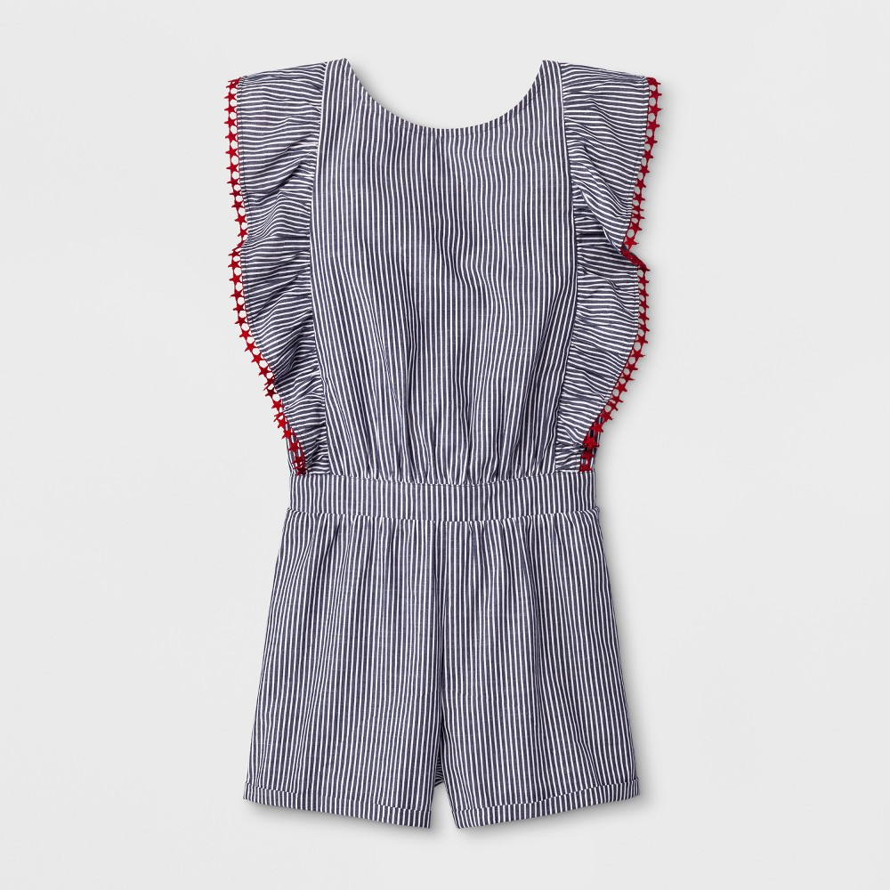 Girls' Short Sleeve Stripe Woven Americana Romper - Cat & Jack Navy XL, Blue