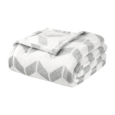 Chevron Plush Blanket (Full/(Queen)Gray
