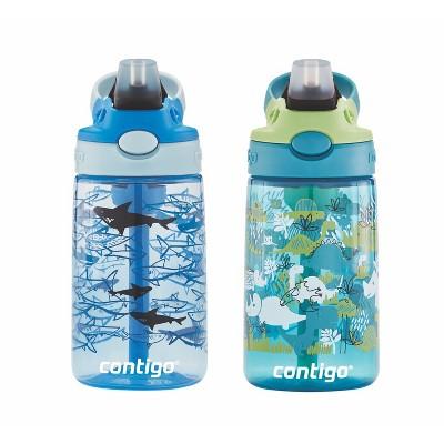 Contigo Autospout 14oz 2pk Kids Straw Water Bottle Blue/Green