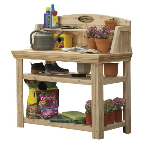 Surprising Cedar Rectangular Potting Bench Brown Suncast Bralicious Painted Fabric Chair Ideas Braliciousco