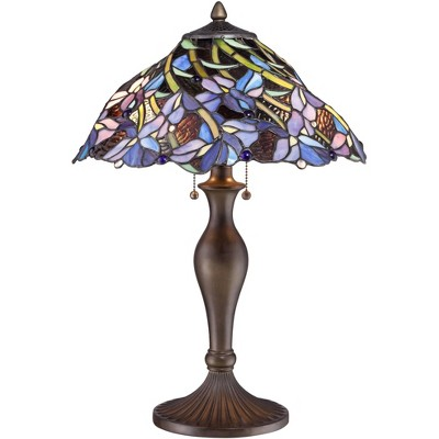 Robert Louis Tiffany Traditional Table Lamp Vintage Bronze Metal Floral Swirl Stained Art Glass for Living Room Family Bedroom