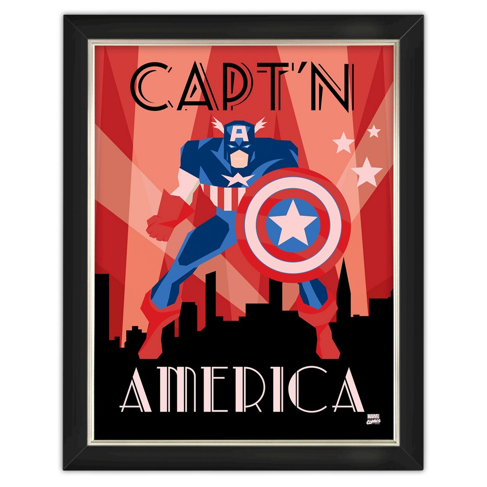 Image of Captain America Under Glass Wall Art 14x18, Red/White/Blue/Black