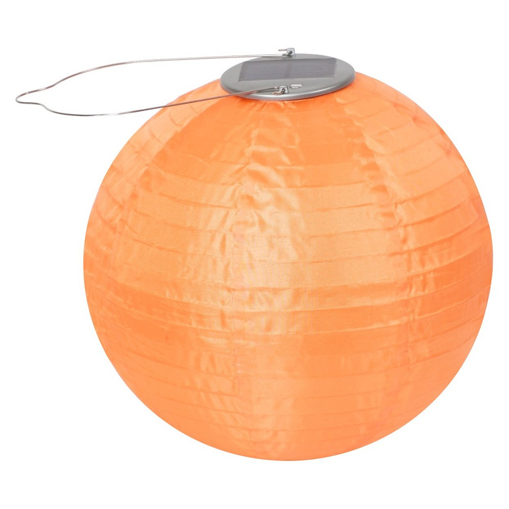 "Image of ""10"""" GLOW Solar LED Outdoor Lantern Orange"""