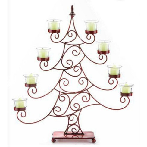 Christmas Tree Candle Holder.Napco 21 5 Christmas Tree Votive Candle Holder Red