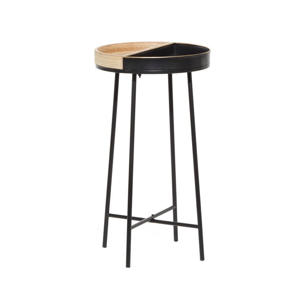 Small Contemporary Metal And Wood Accent Table Black Olivia 38 May