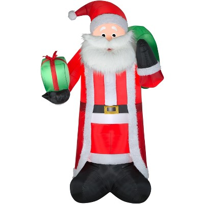 Gemmy Christmas Airblown Inflatable Mixed Media Santa, 8 ft Tall, Multicolored