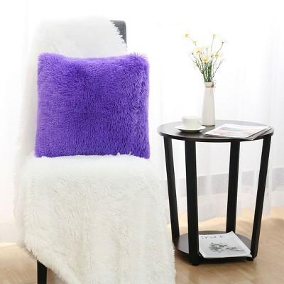"""1 Pc 18"""" x 18"""" Polyester Fuzzy Decorative Pillow Cover Purple - PiccoCasa"""