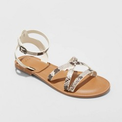 Women's Tillie Faux Leather Ankle Strap Sandals - A New Day™