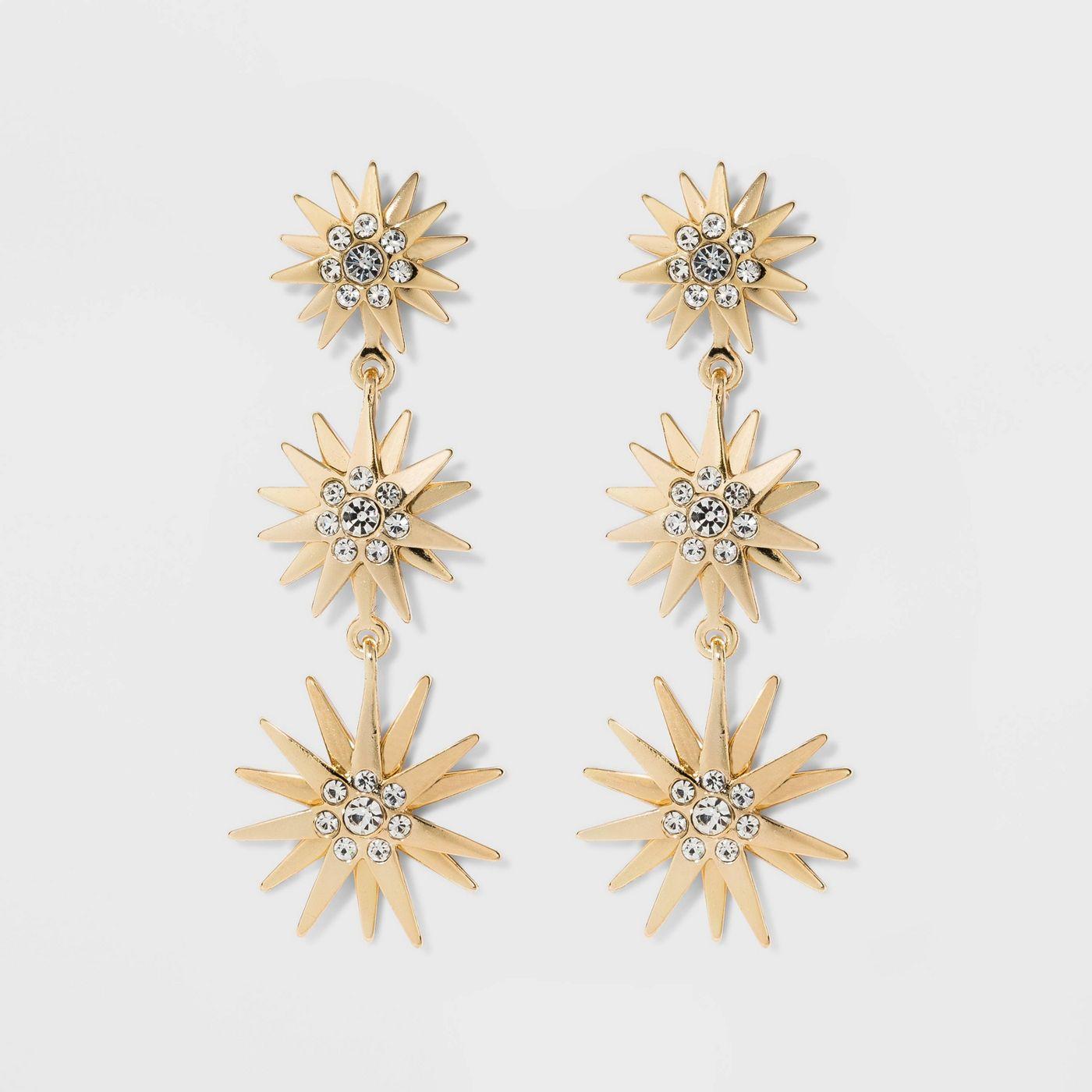 SUGARFIX by BaubleBar Crystal Sunburst Drop Earrings - Clear - image 1 of 8