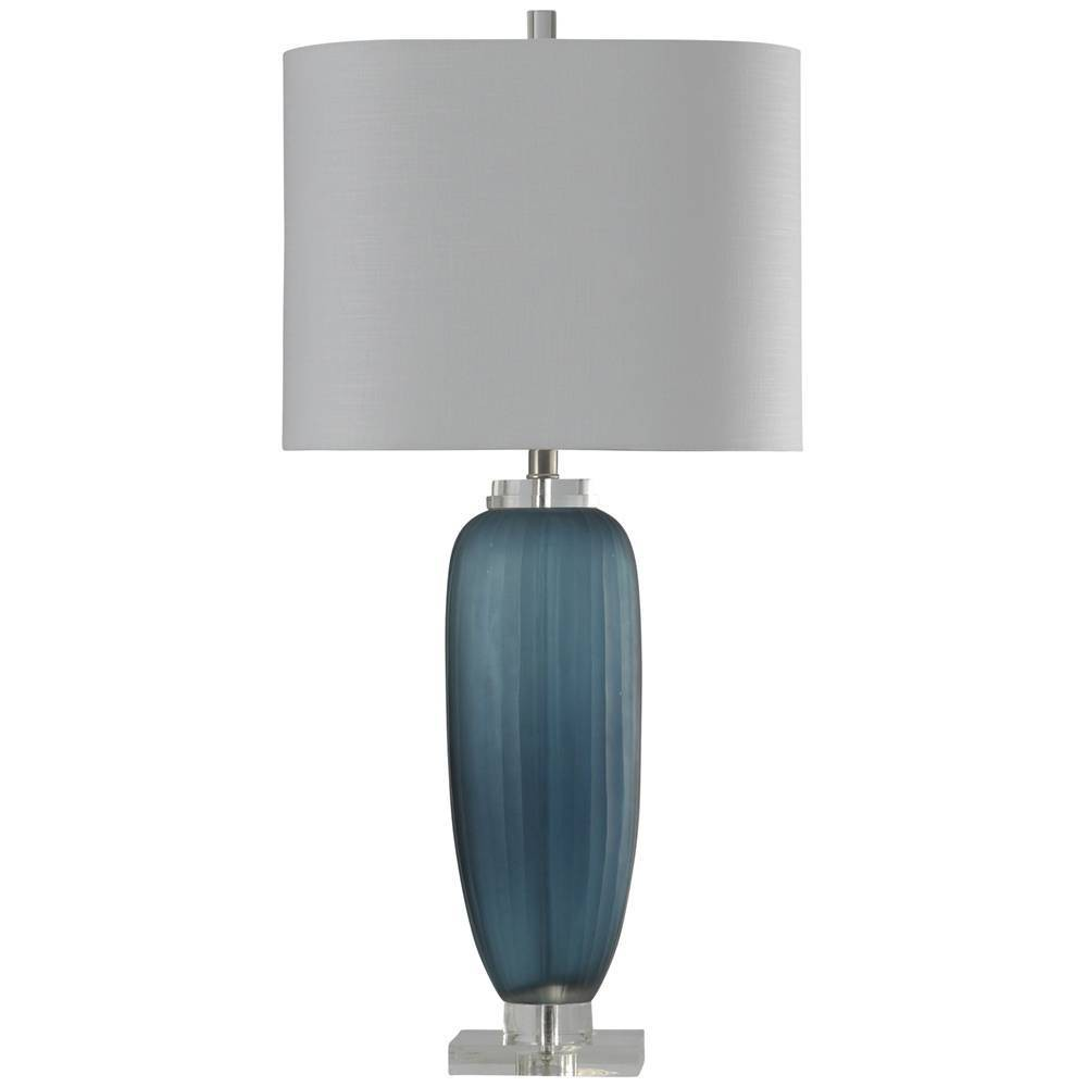 Nicosia Ribbed Glass Table Lamp Blue (Includes Light Bulb) - StyleCraft