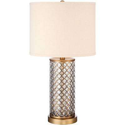 360 Lighting Modern Table Lamp Brass and Clear Mercury Glass Off White Drum Shade for Living Room Family Bedroom Nightstand Office