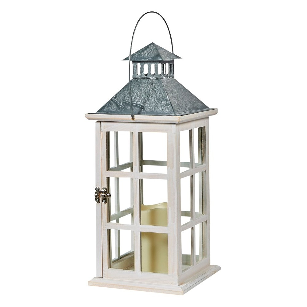 "Image of ""Smart Living Camden 16"""" LED Candle Outdoor Lantern - Antique White"""