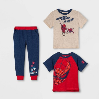 Toddler Boys' 3pk Spider-Man Short Sleeve Top and Bottom Set - Oatmeal Heather 4T