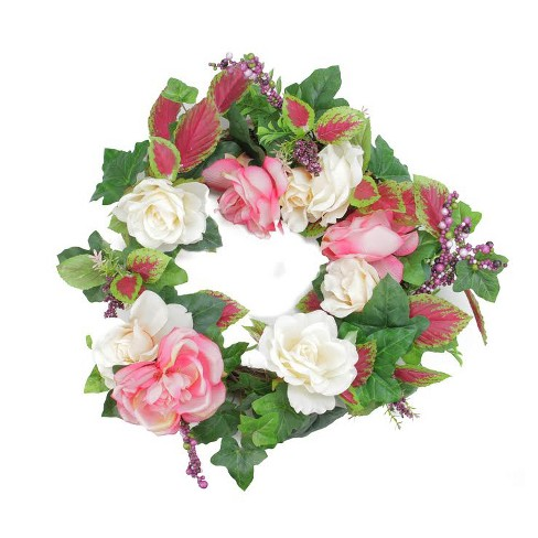 """Darice 22.5"""" Unlit Cream/Pink Rose with Berries Artificial Spring Floral Wreath - image 1 of 1"""