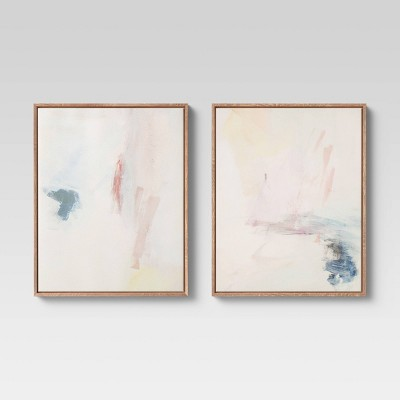 """(Set of 2) 16"""" x 20"""" Abstract Framed Wall Art Blush/Blue - Project 62™"""