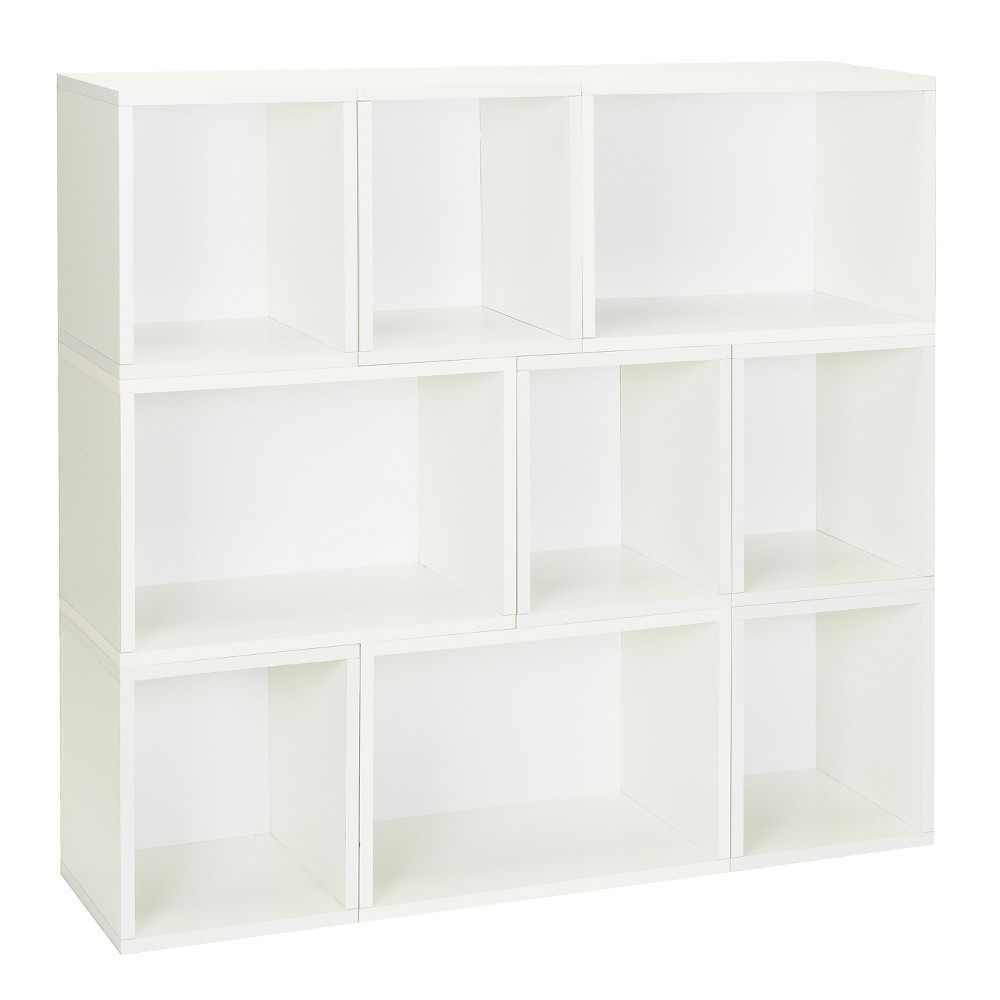 Way Basics Oxford 9 Stackable Cubes Storage - Modular Bookcase, White - Lifetime Guarantee