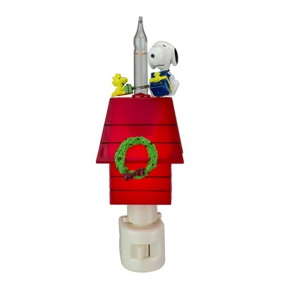 "Roman 7.25"" Peanuts Snoopy and Woodstock Doghouse Christmas Bubble Night Light - White/Red"
