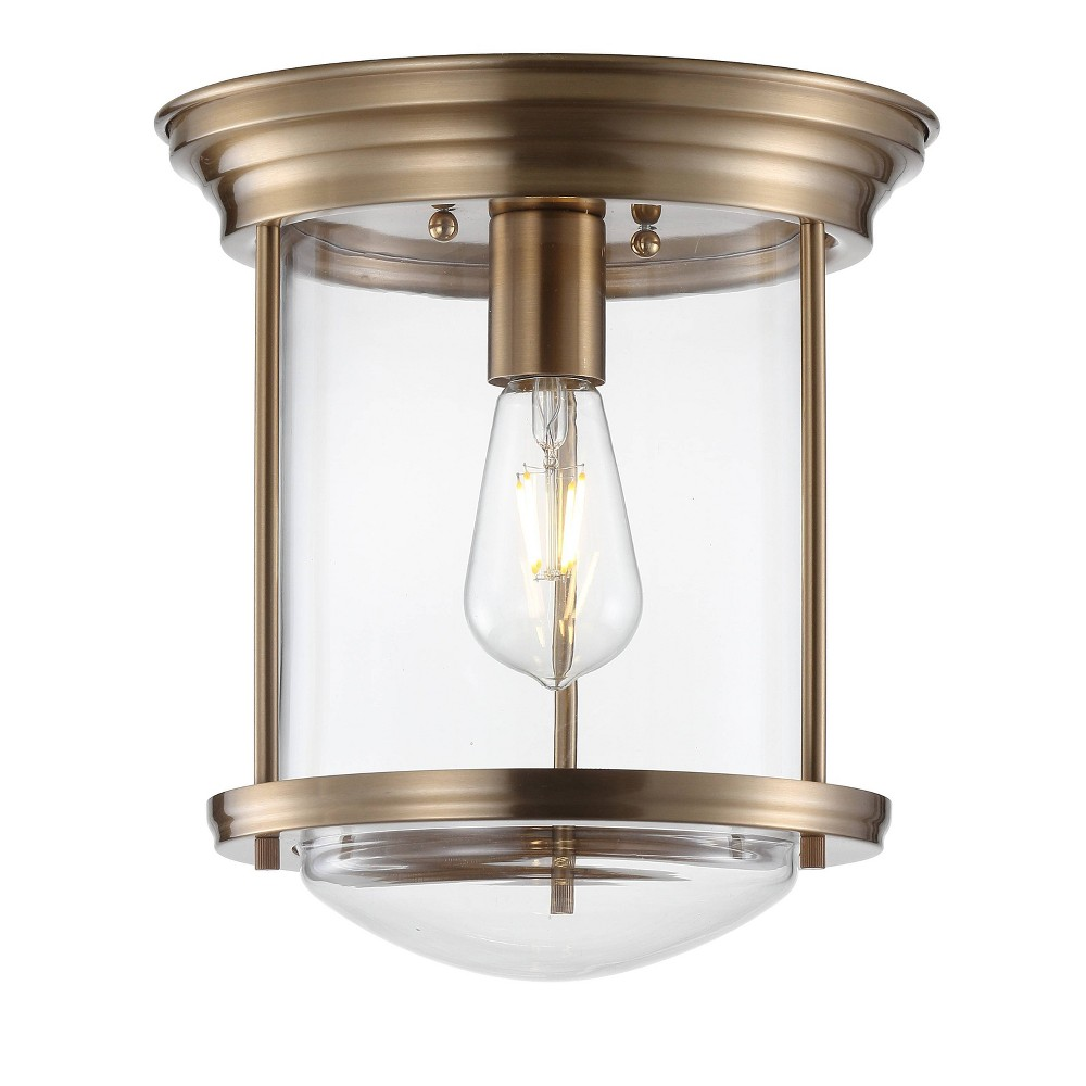 "Image of ""10.25"""" Savannah Metal/Glass LED Flush Mount Brass (Includes Energy Efficient Light Bulb) - JONATHAN Y"""