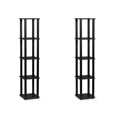 Furinno Turn-N-Tube 5 Tier Wooden PVC Corner Display Shelf Bookcase for Living Room, Dining Room, Bedroom, and Office Spaces, Americano Black (2 Pack)