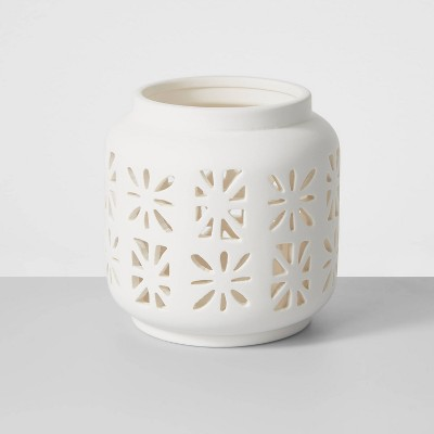 "4.5"" Small Ceramic Votive Outdoor Lantern White - Opalhouse™"