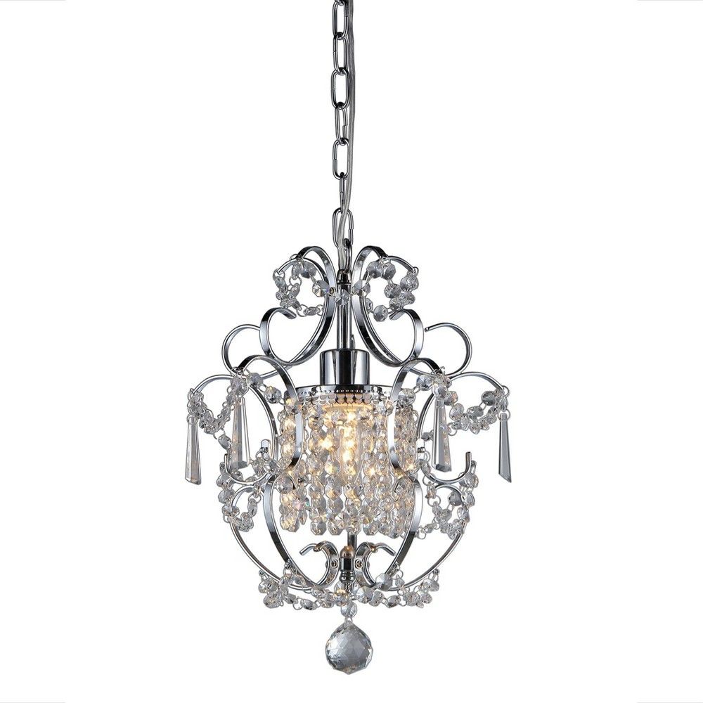 "Image of ""11"""" x 11"""" x 15"""" Orchid Single-Light Crystal Chandelier Silver - Warehouse of Tiffany"""