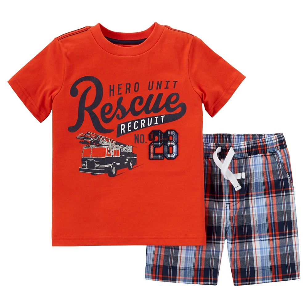 Toddler Boys' 2pc Shorts Set - Just One You Made by Carter's Orange/Plaid 4T, Dizzy Orange
