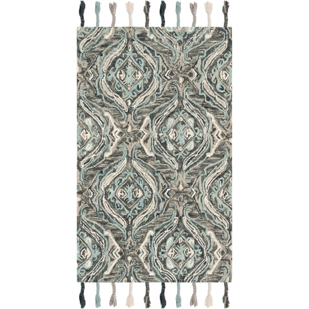 3'X5' Jacquard Hooked Accent Rug Gray/Light Blue - Safavieh